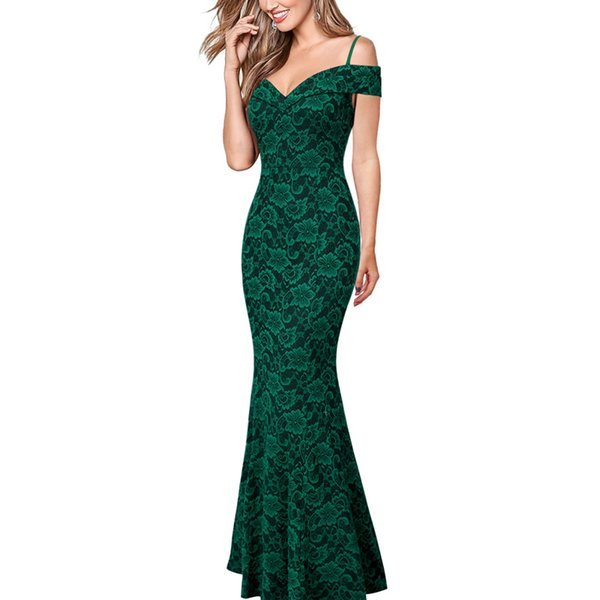 wholesale Womens Spaghetti Strap Floral Lace Slim Formal Evening Gowns Wedding Party Bodycon Mermaid Fishtail Maxi Long Dress 2232