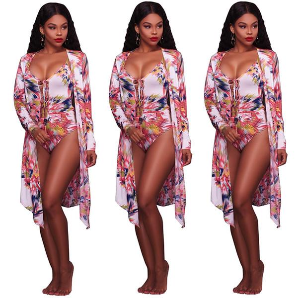 Modische Print Frauen Sexy tiefem V-Ausschnitt 2 Stück (einteiliger Bikini + vertuschen Kleid) Strand Badeanzug 05 Badeanzug
