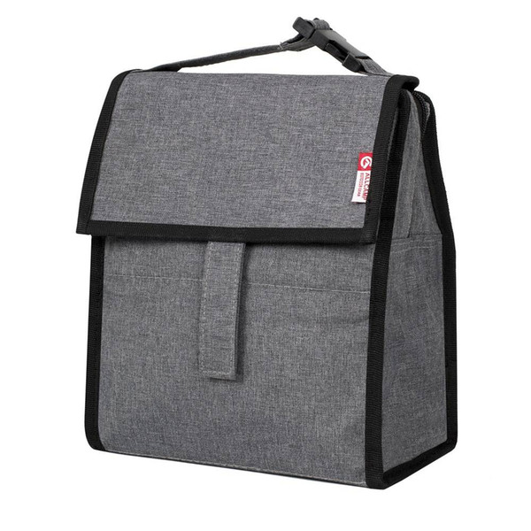 Folding canvas Portable Mini Lunch Tote With Zip Closure For Adults And Child Grey Camping Hiking lunch bag
