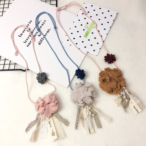 Korea Cute Fabric Lace Flower Ball Necklace & Pendant Baby Chain Collar Fashion Jewelry Children Girl Accessories-SWCGNL048F