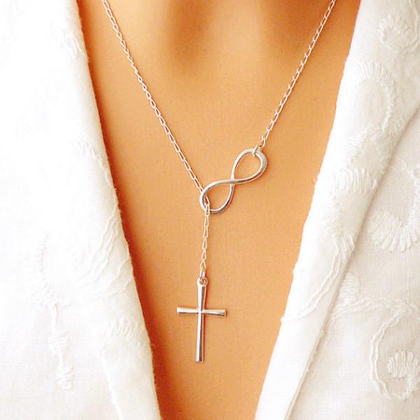 2019 NOUVEAU mode Infinity Pendentif croix Collier de soirée de mariage chaîne plaqué d'argent de l'événement Bijoux élégant pour les femmes dames cadeau Livraison gratuite
