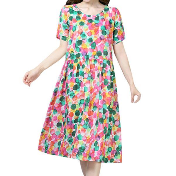 Venda quente Mulheres Verão Polka Vestido O-pescoço Fresco Dot Imprimir Manga Curta Vestido Longo Macio Casual Solto Longo