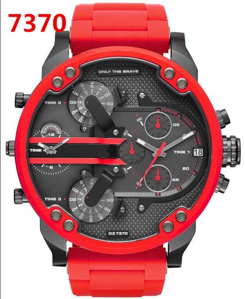 Роскошный Высокое Качество DZ7370 Mr.Daddy 2.0 мужская Мода Спортивные Часы Кварцевый механизм Корпус из нержавеющей стали Коричневый Кожаный Ремешок Часы 57 мм