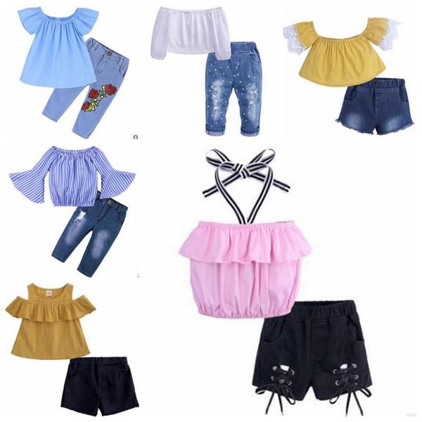 Babykleidung Kinder Sommerkleidung Set Trägerlos Crop Tops Jeans Anzüge Boutique T-Shirt Jeansshorts Hosen Röcke Stirnband Outfits B5546