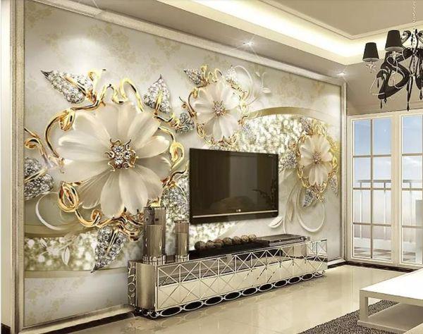 Custom 3d wallpaper murals 3d Luxury gold 3d three-dimensional European pattern jew modern television background wall wall paper home decor