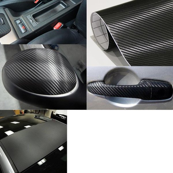 3M Quality 3D Black carbon fiber car wrap Car Wrapping Film Sheets With Air Drain Top quality 1.52x30m/Roll 4.98x98ft