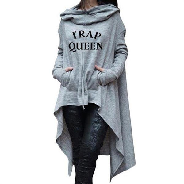 Felpe irregolari per il Trap Women QUEEN lettere Stampa con cappuccio Donne Kawaii Felpa Femmes Thick modello della Gioventù 2018 Buckle