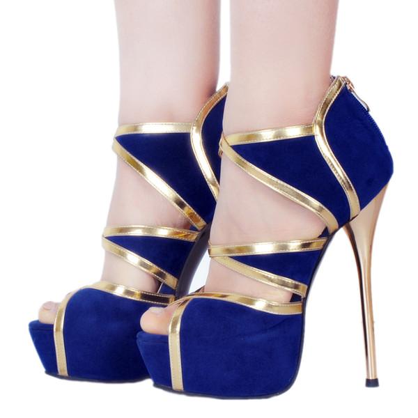comprar online 5dea9 3a208 Compre Legzen Mujeres Sexy Sandalias De Tacón De Fiesta Casual Faux Suede  Plataforma Tacones Altos Sandalias Zapatos Azules Para Mujer Tamaño Grande  4 ...