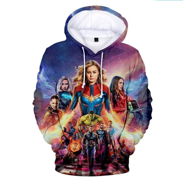 Elegant Animated Cartoon Hoodies The Avengers 4 War clothes 3D digital Double sided print Hoodie Thin material Loose type Sportswear sweater