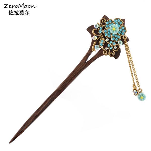 Bois Piques à cheveux Rhinestone fleur en métal Tassel Épingle Femmes Mode Bijoux Vintage Accessoires cheveux