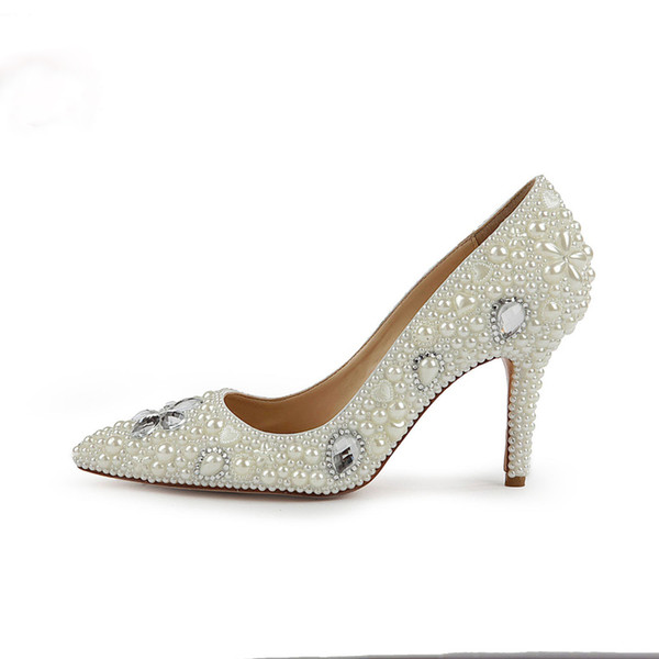 2019 Fashion Design Women High Heels Ivory Pearl Wedding Party Shoes 3 Inches Heel Bride Shoes Pointed Toe Ceremony Event Pumps