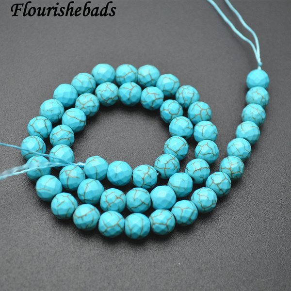 """10MM TURQUOISE GEMSTONE HOWLITE BLUE ROUND 10MM LOOSE BEADS 8/"""""""