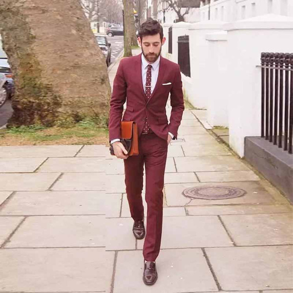 Dark Red Men Suits Slim Fit Notched Lapel Wedding Suits For Men With Jacket Pants Groom Tuxedos Two Pieces Blazers