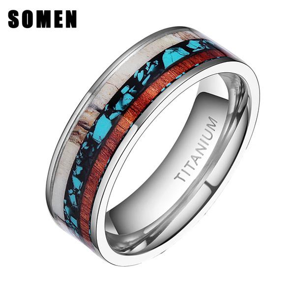 ngagement rings for women 8mm Vintage Wood Antlers Inlay Titanium Ring Engagement Rings For Women Men Wedding Band Fashion Love Ring Jewe...