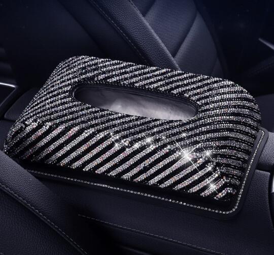 Plein cristal de diamant en cuir Glitter strass voiture pare-soleil PU tissu en cuir Boîte automatique Porte-papier Clip serviette Accessoires