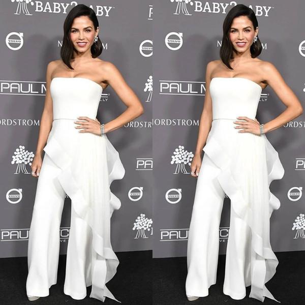 white evening dresses women jumpsuit with long train floor length strapless elegant prom dress party zuhair murad dress vestidos festa