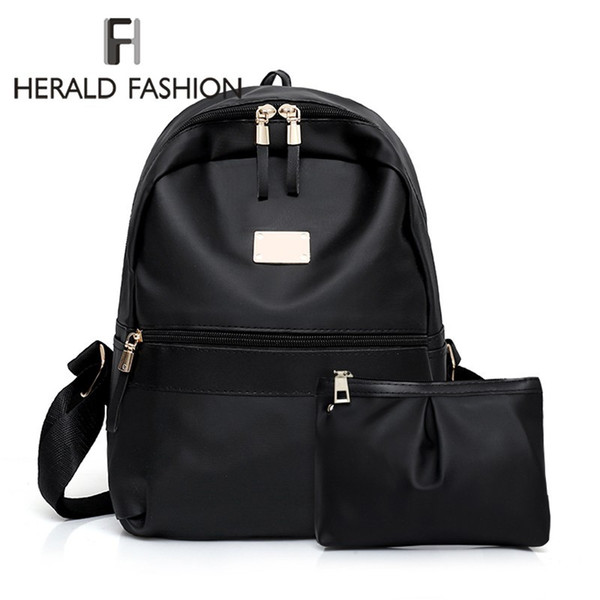 Herald Fashion 2pcs/Set girl Backpack Girls Solid Quality Leather Shoulder Mini Backpack Ladies' Composite Bag Mochila Feminina