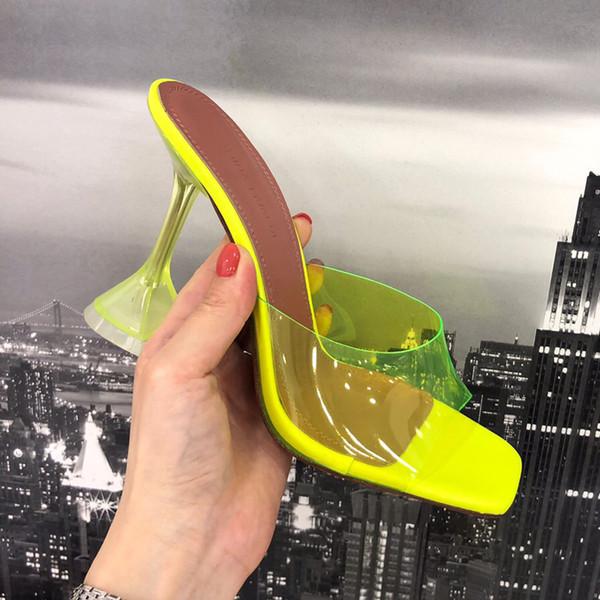Perfecta calidad oficial zapatos Amina claro Pvc mujer moda edición rara Muaddi Lupita Mule sandalias de tacón alto de lujo Italia zapatillas