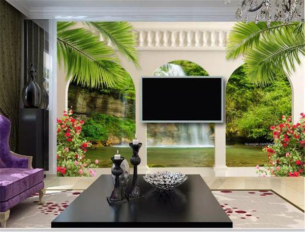 3d papel de parede jardim arco cachoeira paisagem 3d sala de estar tv fundo vinculado parede pintura papel de parede