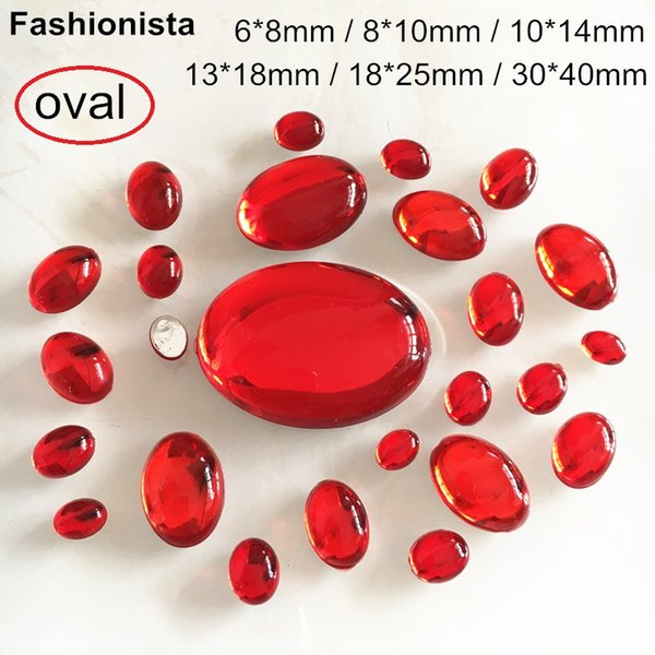 Different Sizes Red Oval Acrylic Cabochon,Flat Back Domed Resin Beads,Smooth Crystal Red Cabochon,10x14,13x18,18x25,30x40 -WW