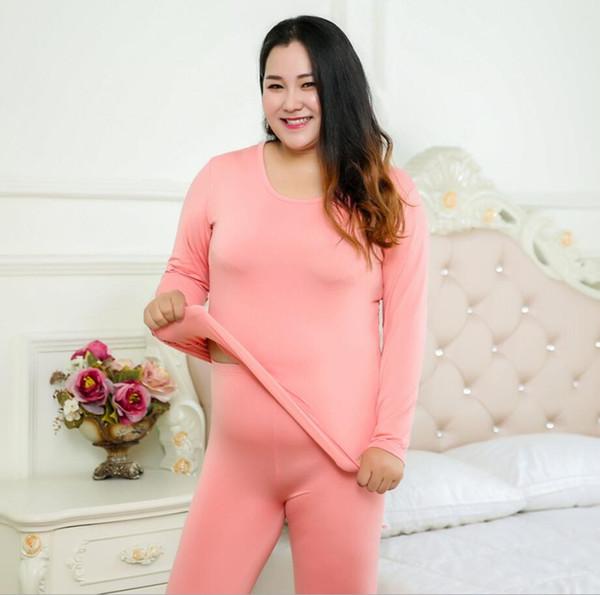 Kadınlar Pamuk Termal Iç Çamaşırı Set Sonbahar Kış Artı Boyutu Siyah Mor Pembe Yuvarlak Yaka Paçalı Don Üst Ve Dipleri XL-6XL 2019