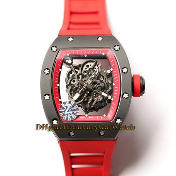 High Version RM055 Skeleton Dial Black Y-TZP Nano-ceramic Composites Case NH 8 Automatic Mechanical RM 055 Mens Watch Red Rubber Watches