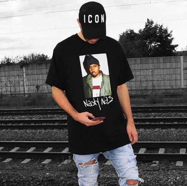 17FW Box logo Hip Hop Nasty Nas T PHOTO Planche à roulettes fraîche Rapper T-shirt Homme Femme Tee Mode Casual HFL