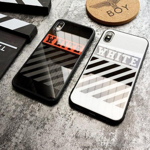 Mode OFF Phone Case pour iPhone 11 Pro XS Max XR Miroir tpu + acrylique blanc cas de motif pour iPhone X 10 XR XS 6 6S 7 8 Plus