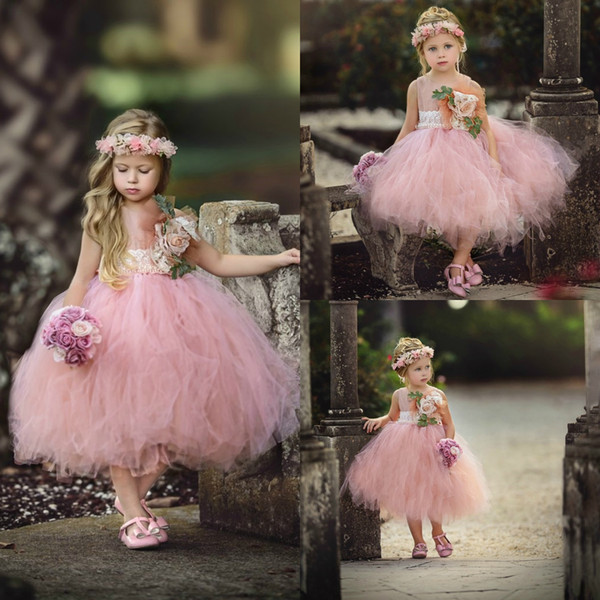 Vintage Hand Made Flower Girls Dresses For Weddings Blush Pink Ball Gown Princess Dress For little Girl Sleeveless Hot Sale Pageant Gowns