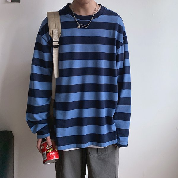 2019 осень корейский стиль мода топ хип-хоп уличная одежда полосатая футболка с длинным рукавом Harajuku мужчины