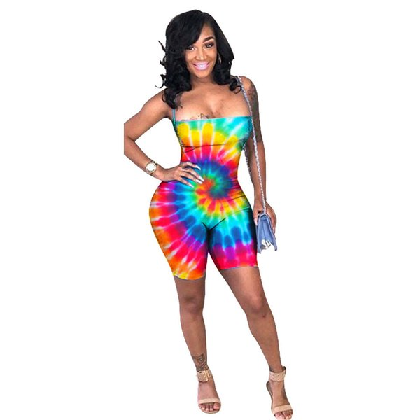 Fashion-Spring Summer Women Jumpsuit Bodycon Playsuit Bodysuit Overalls Rompers Plus Size Colorful Print Strap Sexy Jumpsuits Y19061001
