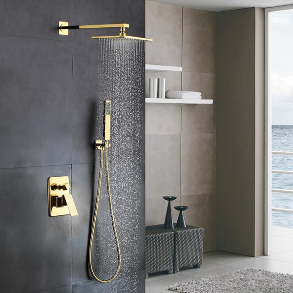2019 Golden Solid Brass Bathroom Luxury Square Rainfall Mixer Shower Set Wall Mounted Rainfall Shower Head System Polished Gold Finish From Hgrrr43
