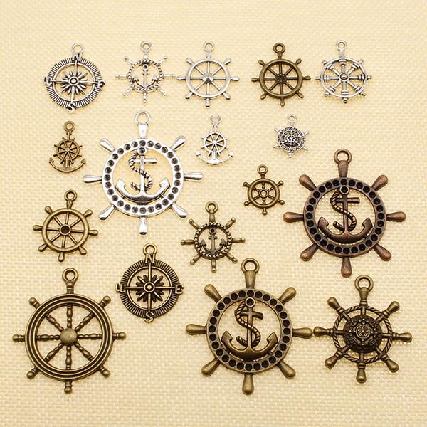 60 Stück Zubehör für Schmuck Materialien Kompass Ruder Anker HJ004