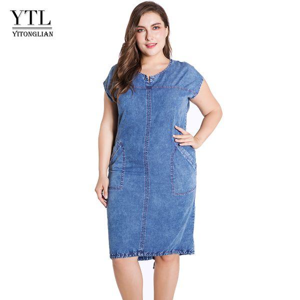 Ytl Summer Ladies Plus Size Denim Dress For Women Clothes Round Neck Pockets Elegant 4xl 5xl 6xl 7xl Thin Party Dress Z25 J190513