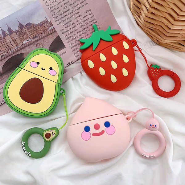 Avocado Strawberry Peach Cute Fruit Silicone Bluetooth Wireless Earphone Case For AirPods Protective Cover Skin Accessories for Airpods