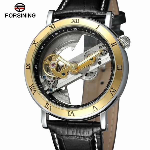 Forsining 2018 Luxury Design Transparent Case Brown Leather Strap Mens Watches Top Brand Luxury Automatic Skeleton Wrist Watches J190614