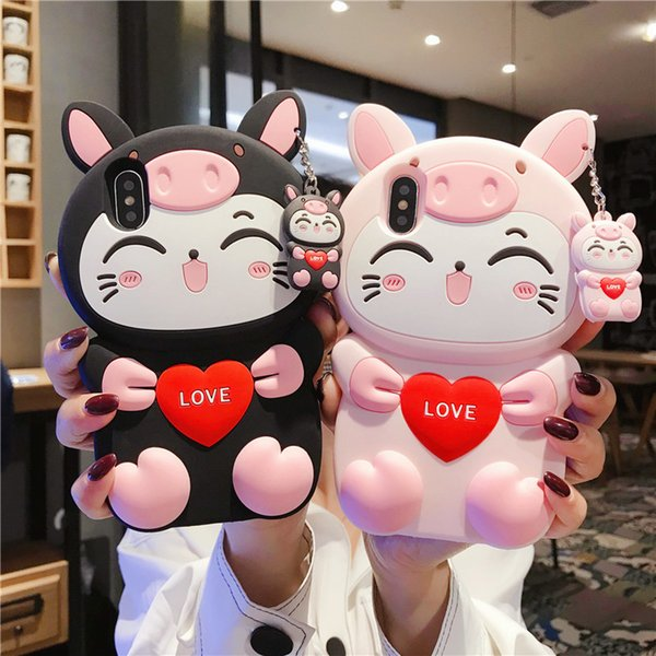 Free UPS For iPhone XR XS Max 8 7 6 Plus 3D Cute Cartoon Cat Animal Soft Silicone Rubber Kawaii Character Shockproof Protective Case Cover