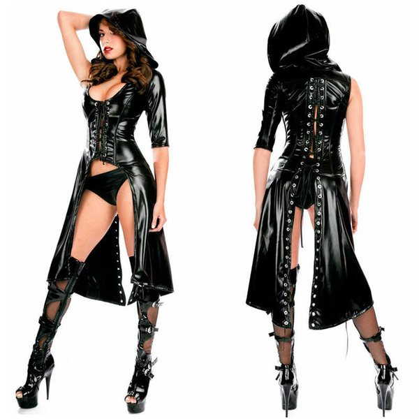 2pcs Sexy Women Wet-look Lace-up Jumpsuit Faux Leather Hooded Catsuit Wetlook Black PU Skinny Bodysuit Playsuit with Panties New