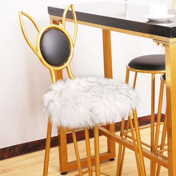 Artificial fur cushion soft and comfortable white chair sofa cushion suitable for all ages round long hair chair small cushion