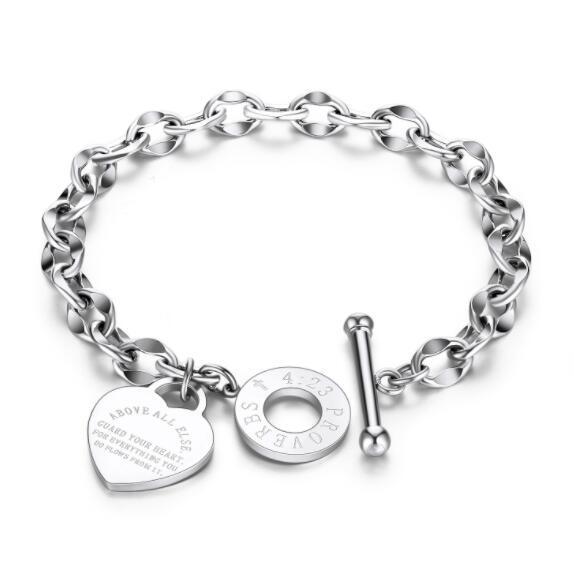 Diseñador de lujo de joyería de diseñador mujeres brazaletes de moda corazón amor pulsera biblia maxim OT bloqueo oro rosa al por mayor joyería del encanto