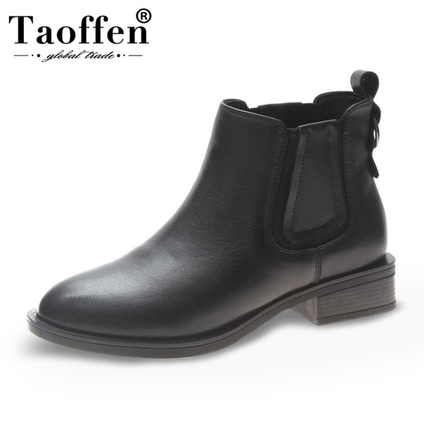 TAOFFEN Genuine Leather Women Ankle Boots British Style Boots Daily Casual Square Heel Women Footwear Size 35-39