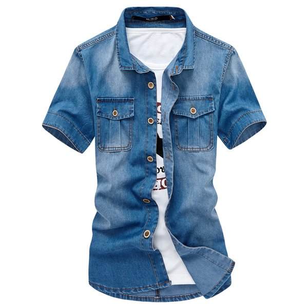 Teen Blue Shirt à manches courtes hommes 2018 Summer Mens Denim Shirts