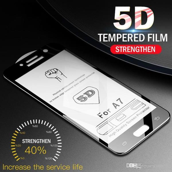 100 unids 5D vidrio templado borde curvo para Samsung Galaxy A3 A5 A7 2017 A8 Protector de pantalla para Samsung A8 Plus A7 A5 A3 película de vidrio