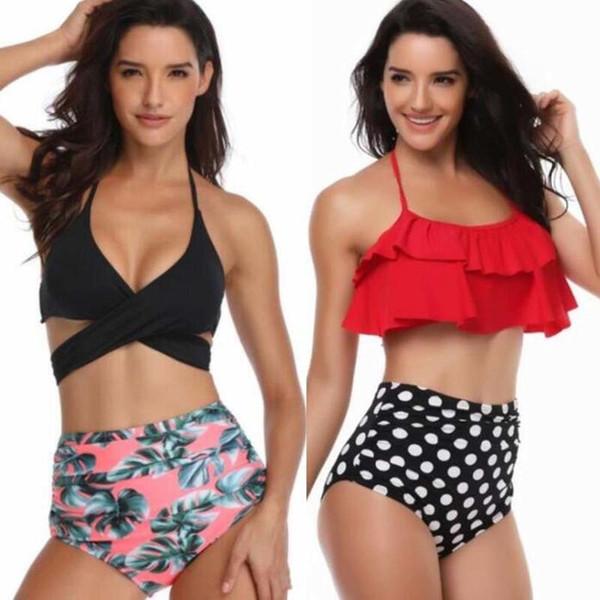 2019 Sexy Biquíni De Cintura Alta Swimsuit Push Up Swimwear das Mulheres Grande Vermelho Biquinis Set Feminino Maiô Ruffle Terno De Natação