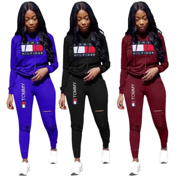 Donna Sportswear cadere insieme delle 2 parti camicia hoodie legging tuta felpata del jogger sport manica lunga lettera tailleur pantalone di stampa sportsuit klw2706