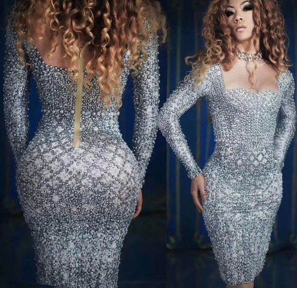 Fashion Pearls Rhinestones Dress Evening Party Wear Long Sleeves Prom Nude Gray Dress Singer Birthday Celebrate Dresses