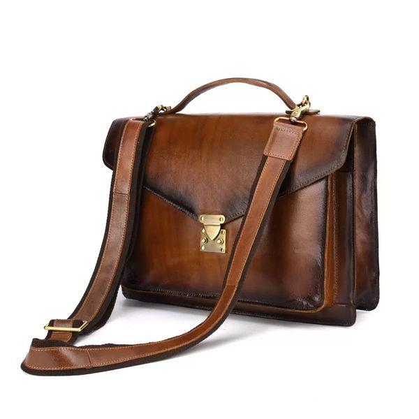 Men Brush Leather Messenger Shoulder Bag Vintage Real Genuine Leather Crossbody Bag for Man 14 inch laptop Briefcase Portfolio