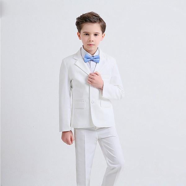Großhandel Kinder Kinder Weiß Formale Jungen Hochzeitsanzüge Smoking Anzüge Jungen Blazer Anzug Führen Kleid Kostüm Baby Boy Taufe Kleid Von