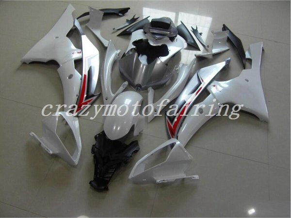 New ABS Mold motorcycle plastic Fairings Kits Fit For YAMAHA YZF-R6-600 2008-2015 08 09 10 11 12 13 14 15 Fairing bodywork set white silver
