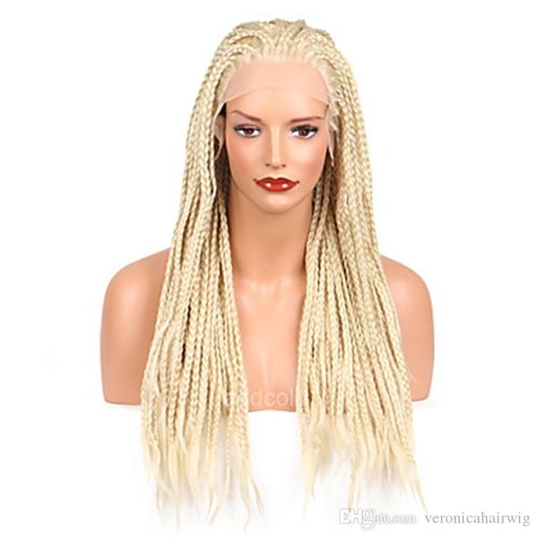 Free Shipping #613 Micro Braid Wig Platinum Blonde Synthetic Lace Front Wig Heat Resistant Fiber Braided Box Braids Wig for White Women